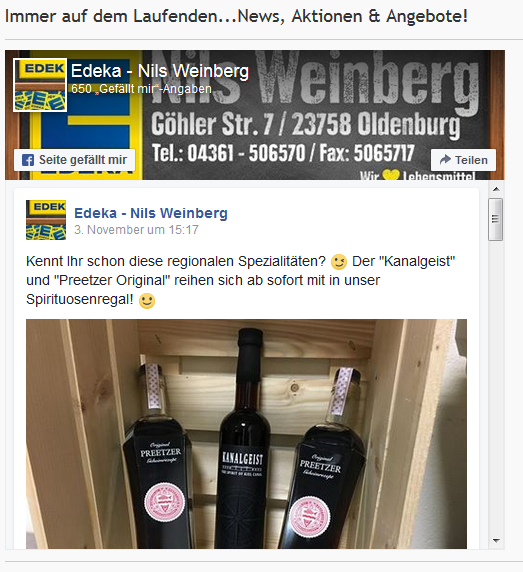 """Den """"Preetzer"""" gibt´s jetzt auch bei EDEKA Weinberg in Oldenburg und Grube!"""